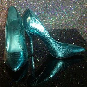 Teal Fergie snakeskin heels